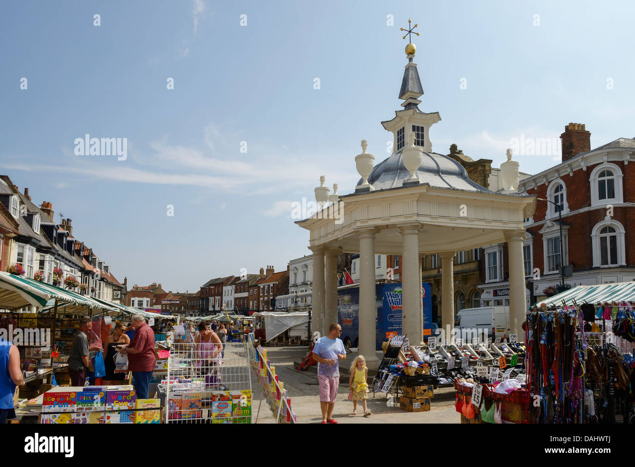 The bandstand and saturday market in Beverley town centre UK - Stock Image