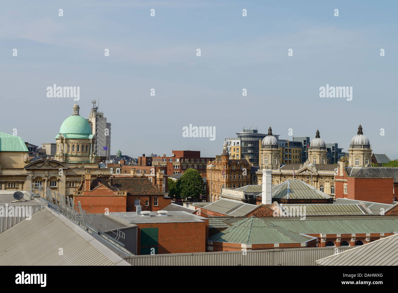 View across the rooftops of Hull city centre UK - Stock Image