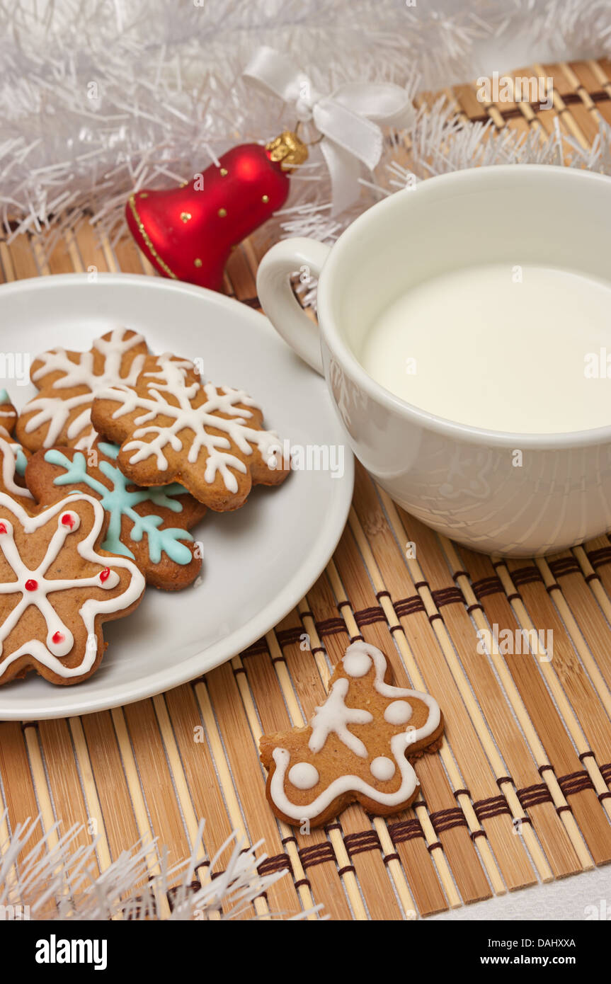 Decorated Sugar Cookies And Milk For Santa At Christmas Time On A