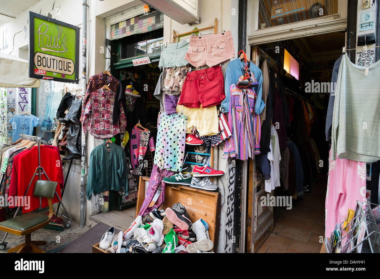 Secondhand clothes shop in bohemian Prenzlauer Berg district of Berlin Germany - Stock Image