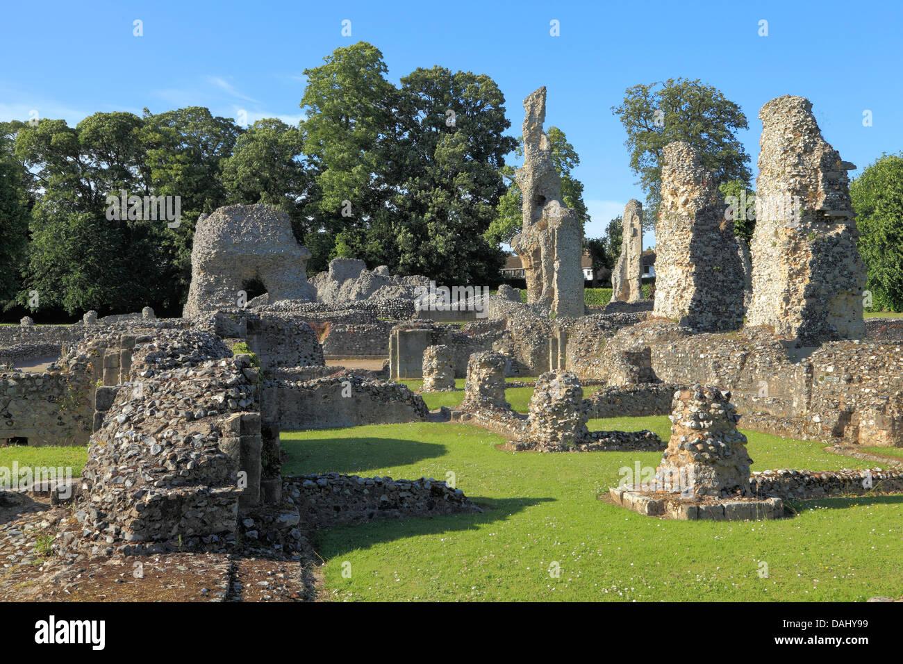Thetford Priory, ruins of Cluniac Priory, Norfolk England UK English medieval Priories - Stock Image
