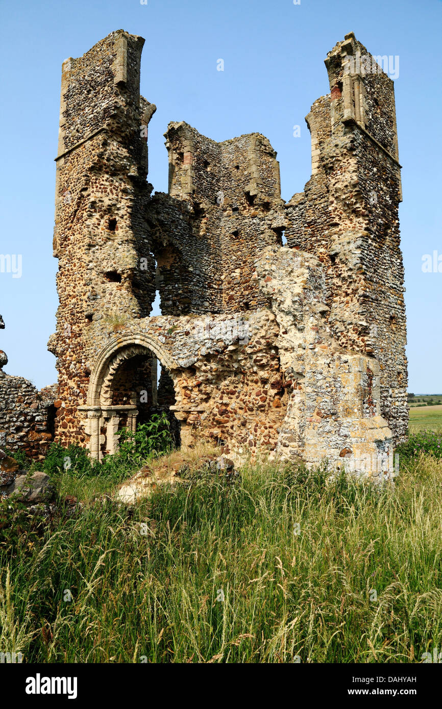 Bawsey, Norfolk, ruins of Norman church tower,  England UK English medieval ruined churches lost deserted village - Stock Image
