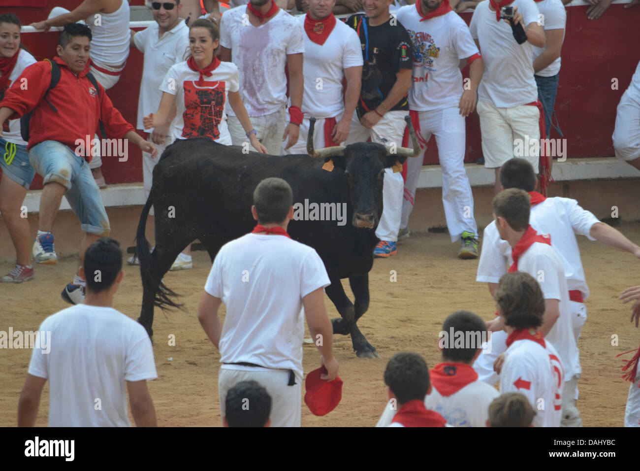 Crowds of people confronting a bull at the annual San Fermin festival in Pamplona, Spain Stock Photo