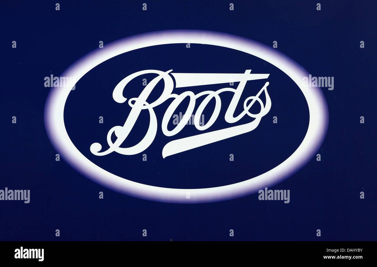 Boots logo sign England UK - Stock Image