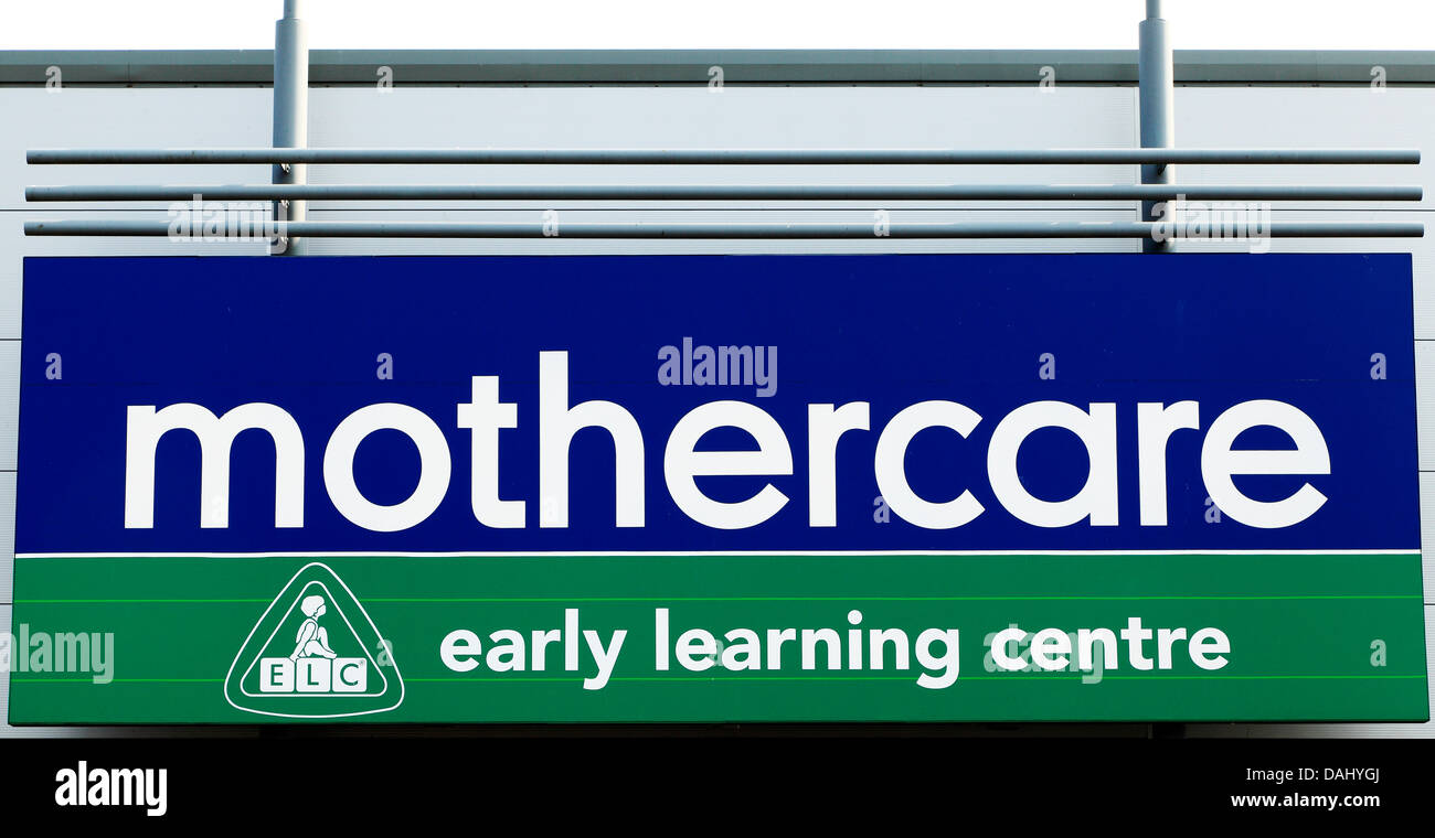 mothercare shop sign, logo, England UK, early learning centre - Stock Image