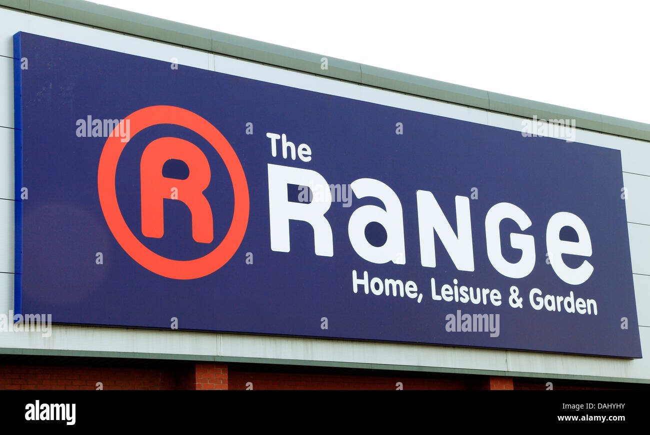 The Range, Home, Leisure & Garden Store sign logo - Stock Image
