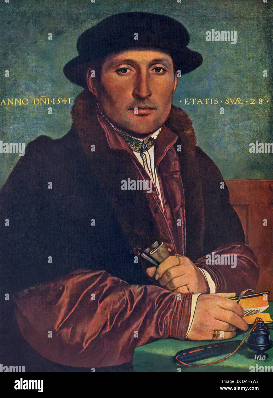 Portrait of a Man was paitned by Hans Holbein the Younger (1497-1543), an outstanding artist of the German Renaissance. - Stock Image