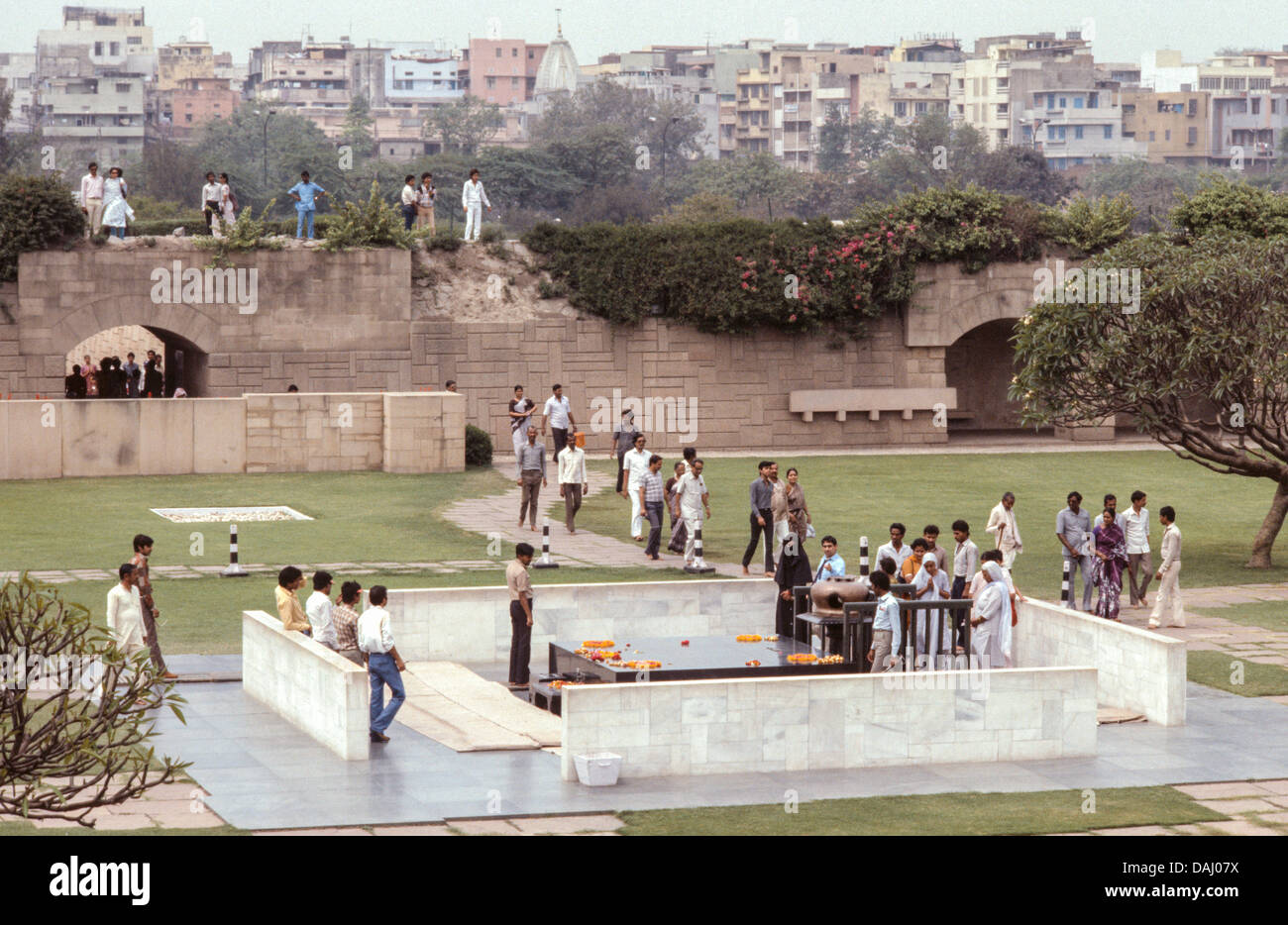 Raj Ghat a memorial to Mahatma Gandhi. Delhi. India - Stock Image
