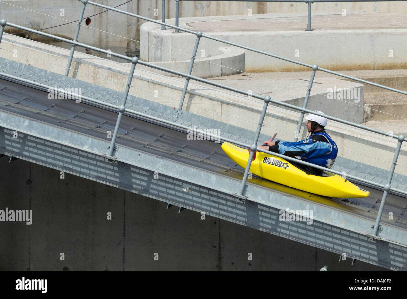 Canoe conveyor belt taking canoe back to the start of the International White Water Course at The Tees Barrage, - Stock Image