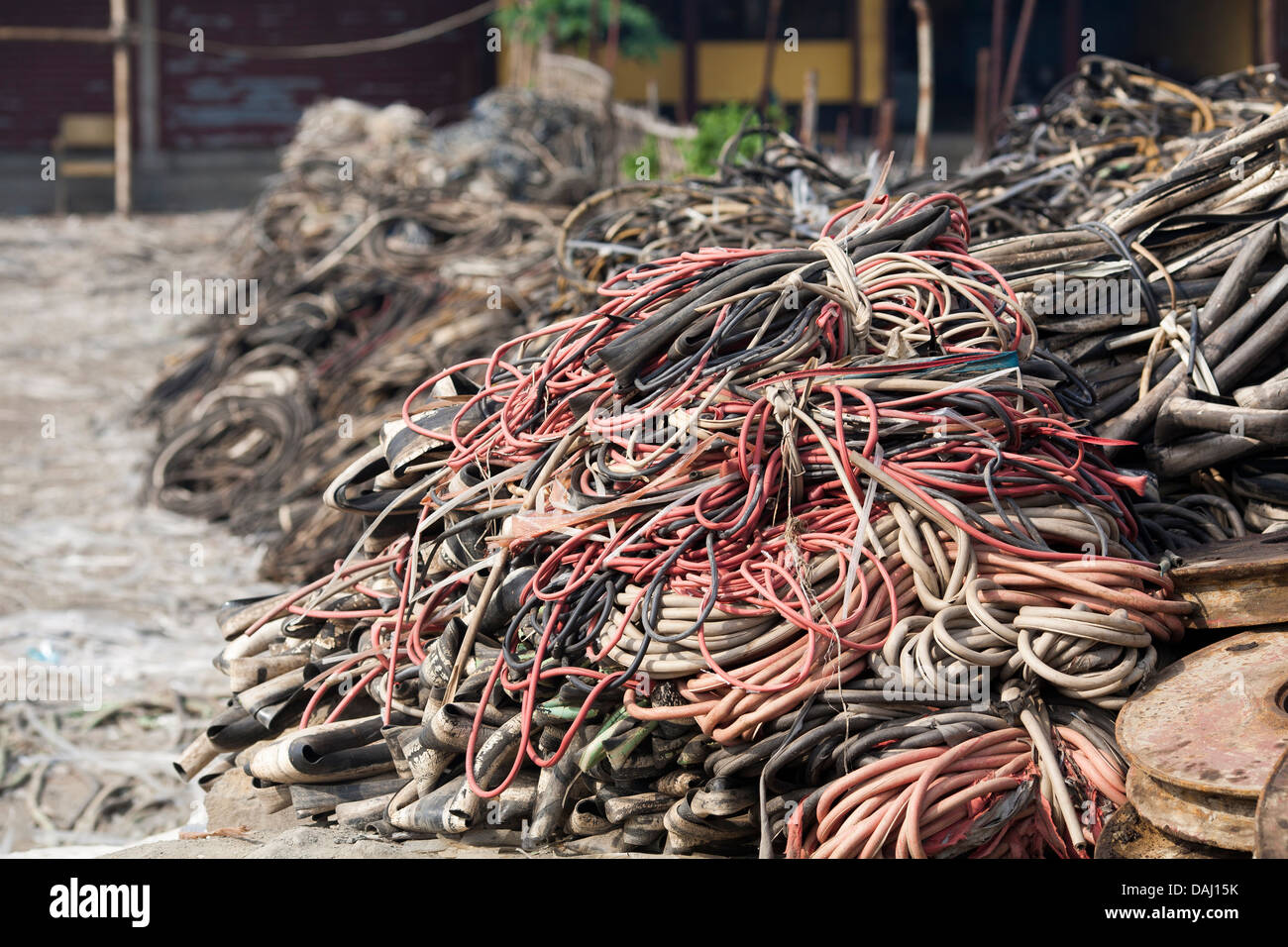 Piles of discarded wiring ready for s at the ship ... on
