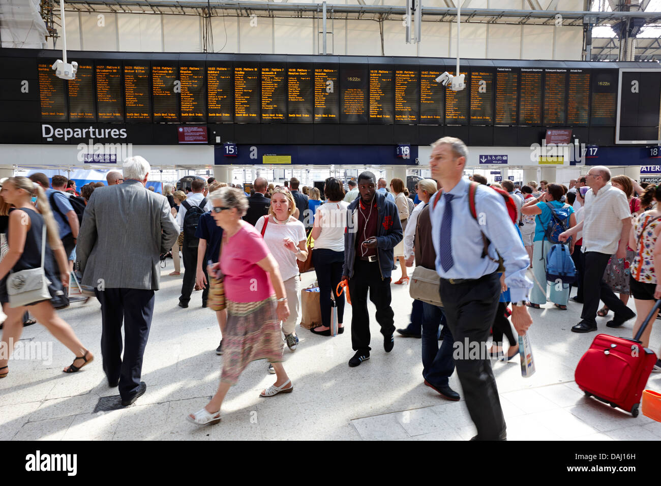 busy concourse of waterloo overground national rail train station london, england uk - Stock Image
