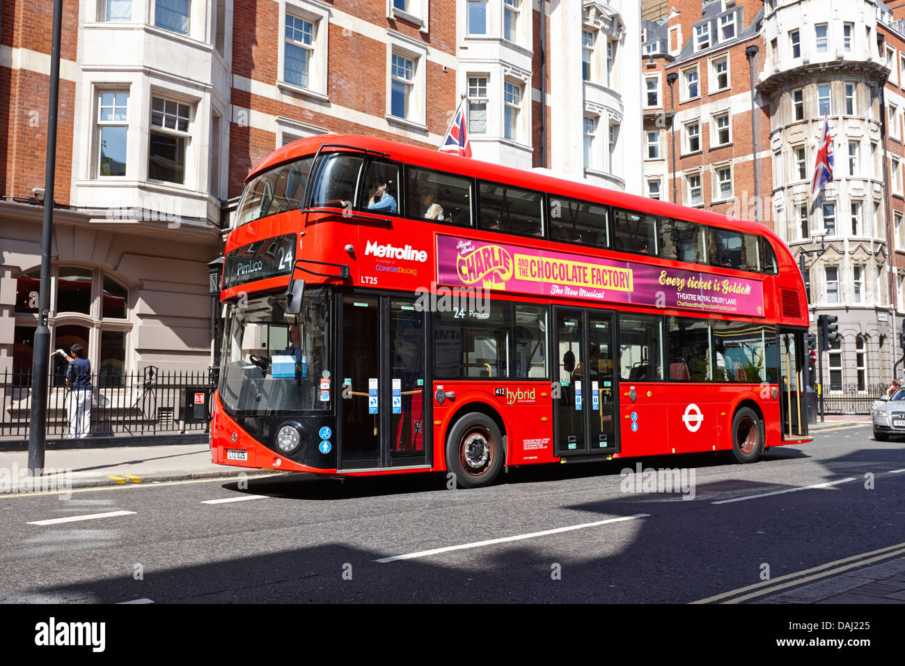 new london routemaster bus in central london, england uk - Stock Image