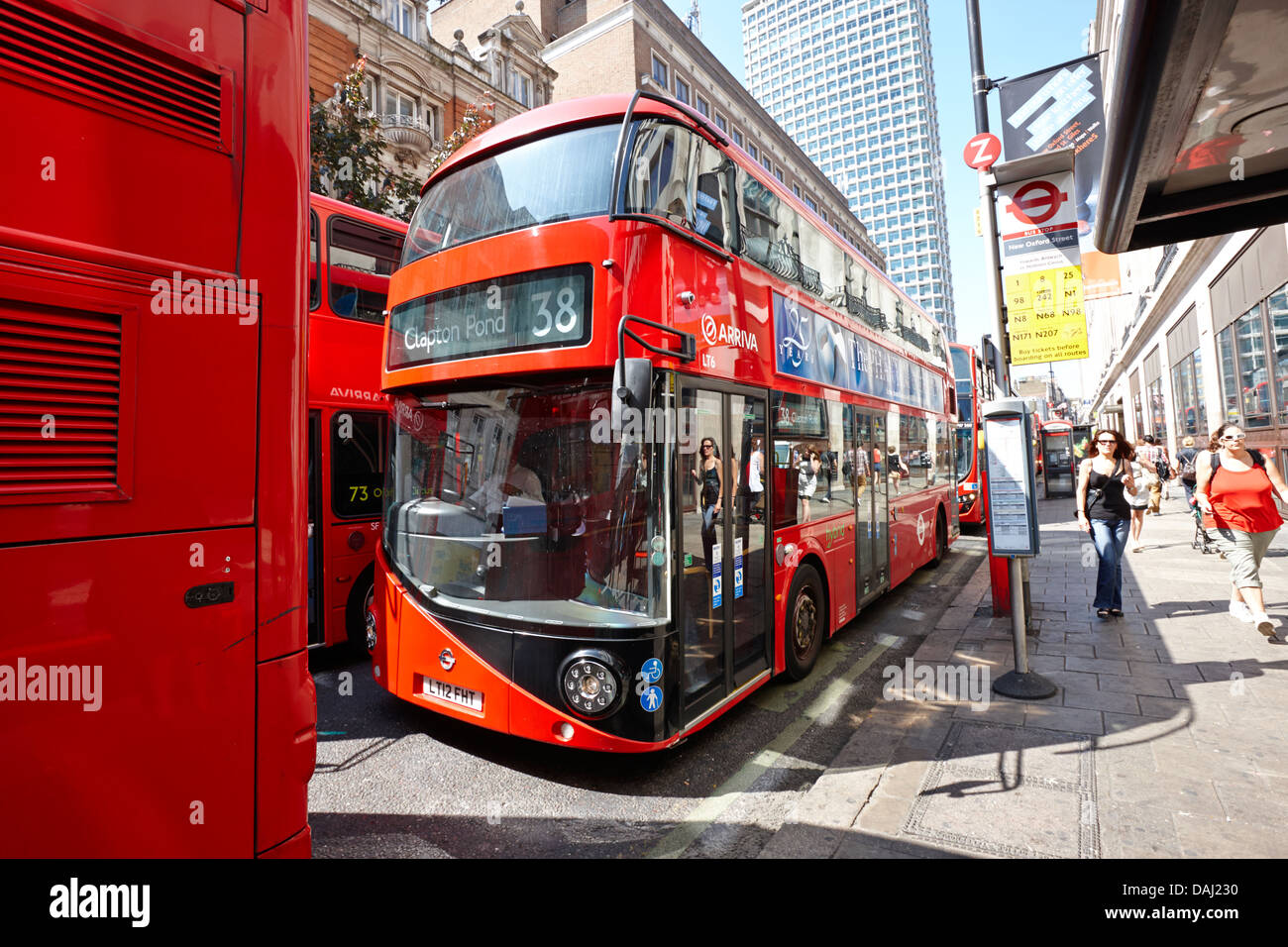 new london routemaster bus on oxford street in central london, england uk - Stock Image