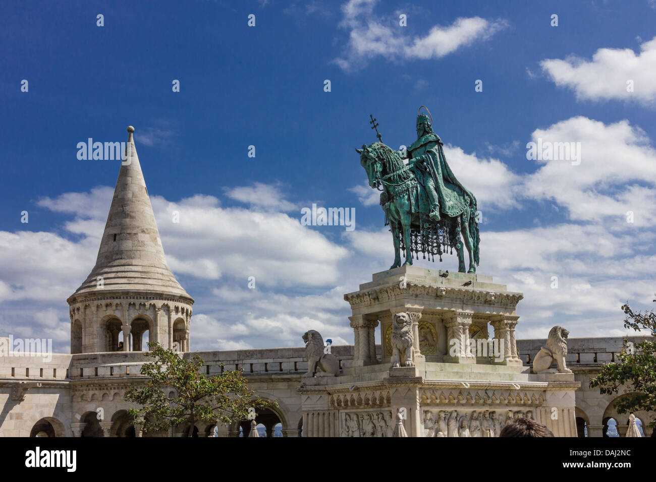 Equestrian statue of Stephen I of Hungary at the Fisherman's Bastion in Budapest - Stock Image