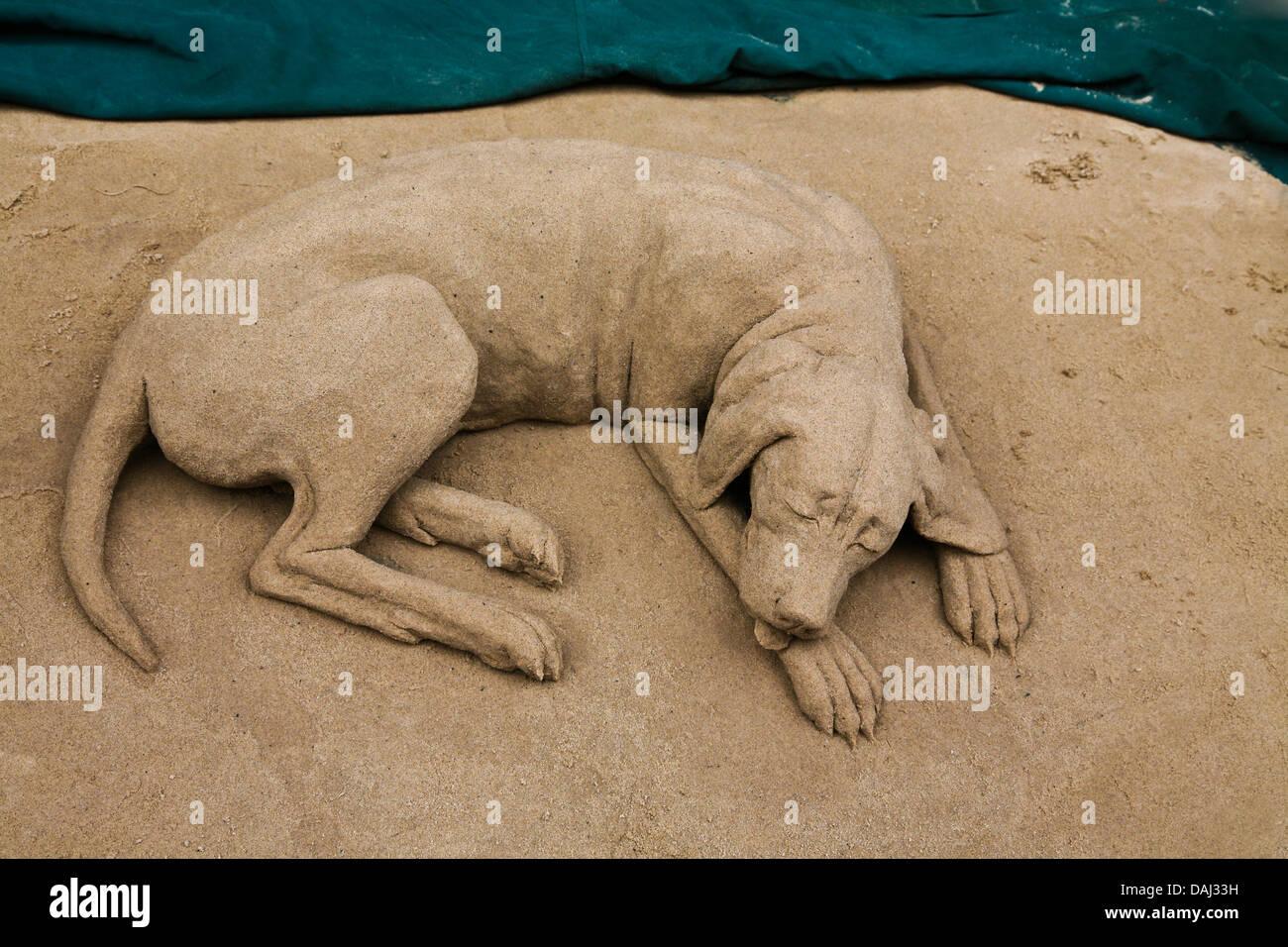 Close up cute funny dog sleeping sand sculpture art made by a street performer, Grafton Street,  Dublin, Ireland, - Stock Image
