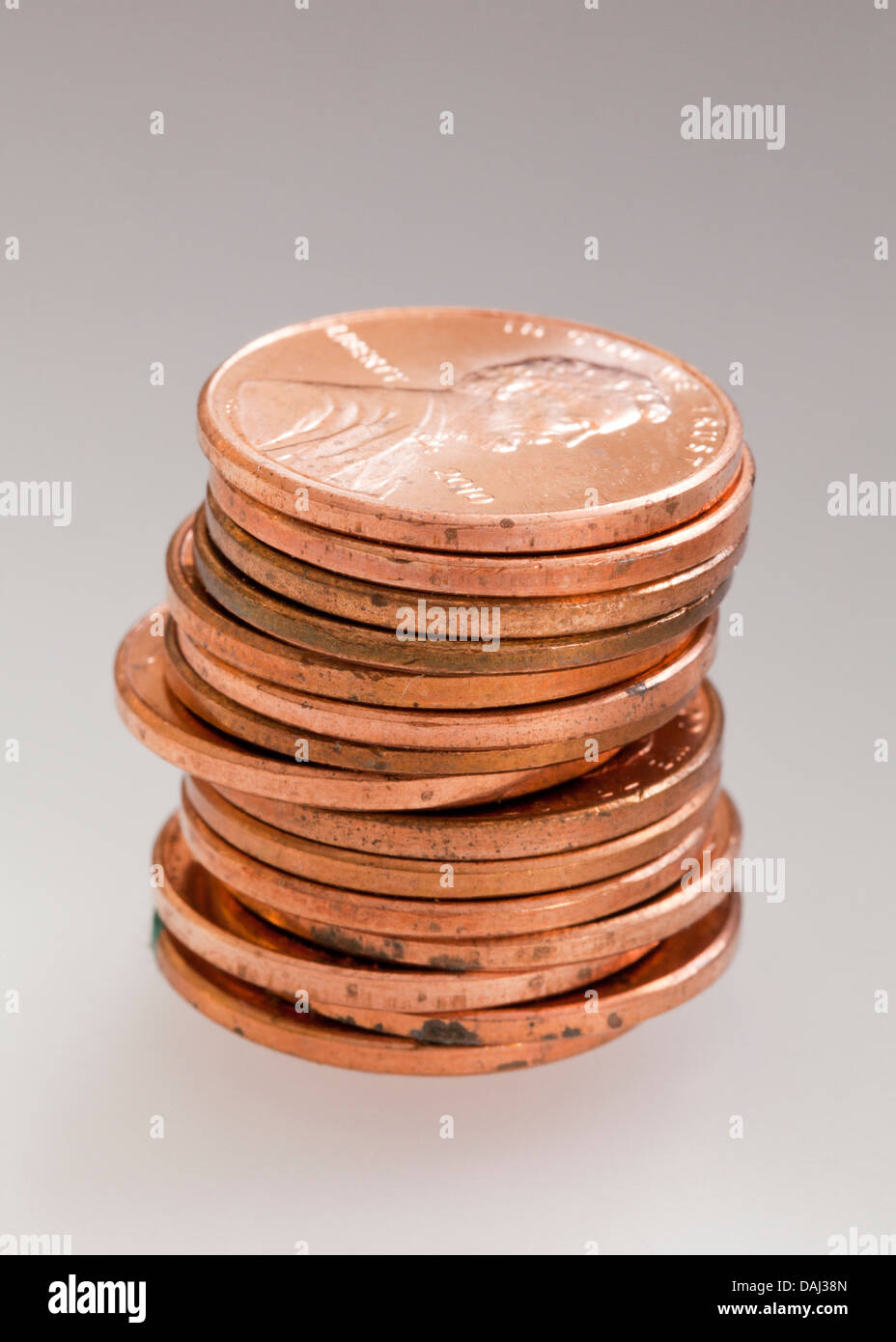 Stack of pennies - Stock Image