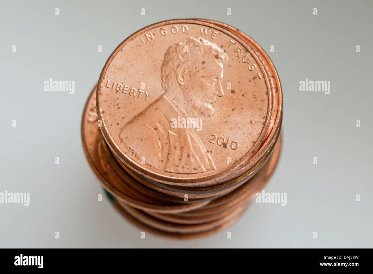 Stack of pennies Stock Photo