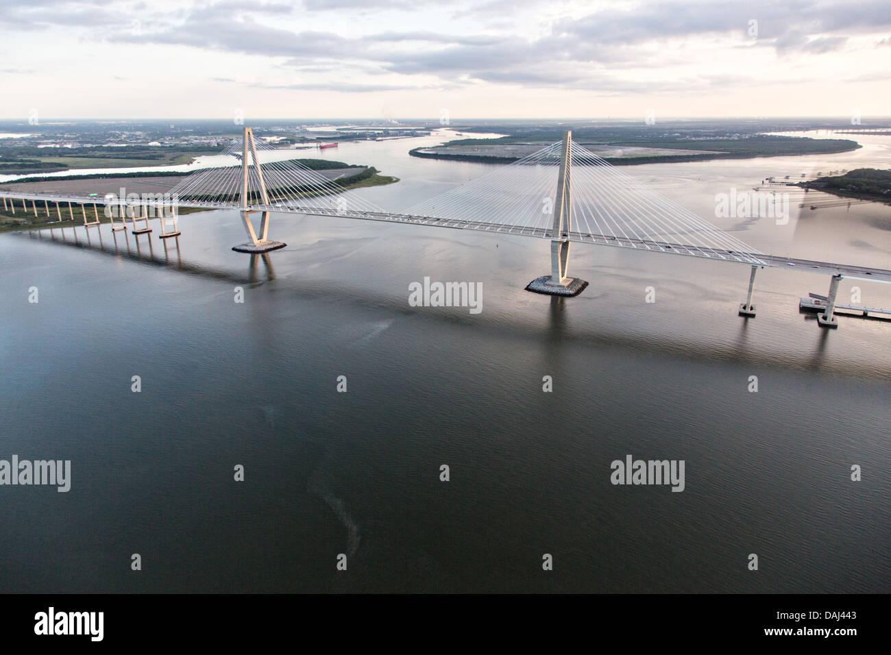 Aerial view of the Arthur Ravenel Bridge in Charleston, SC. - Stock Image