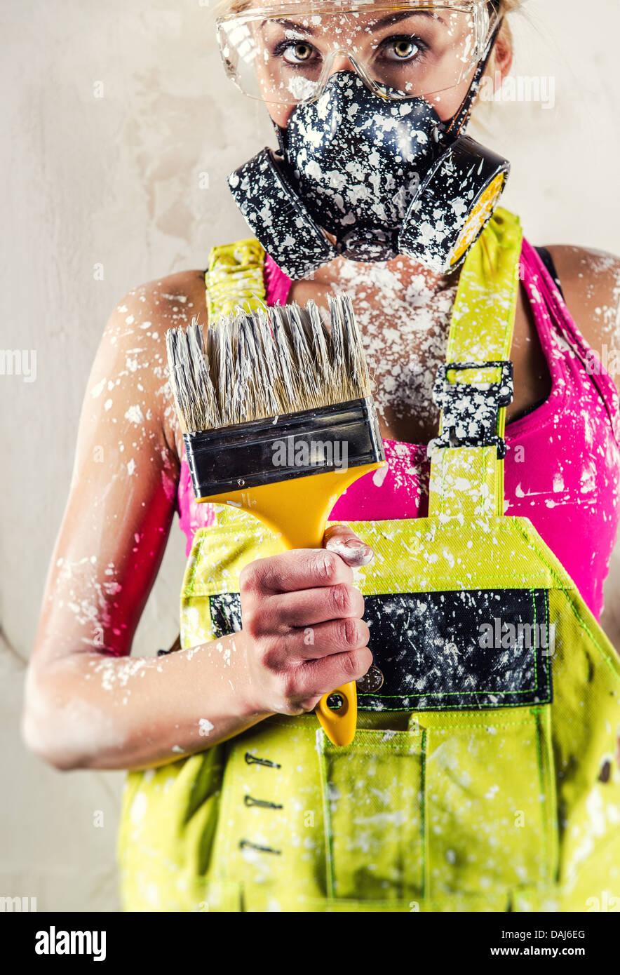 Female in respirator - Stock Image