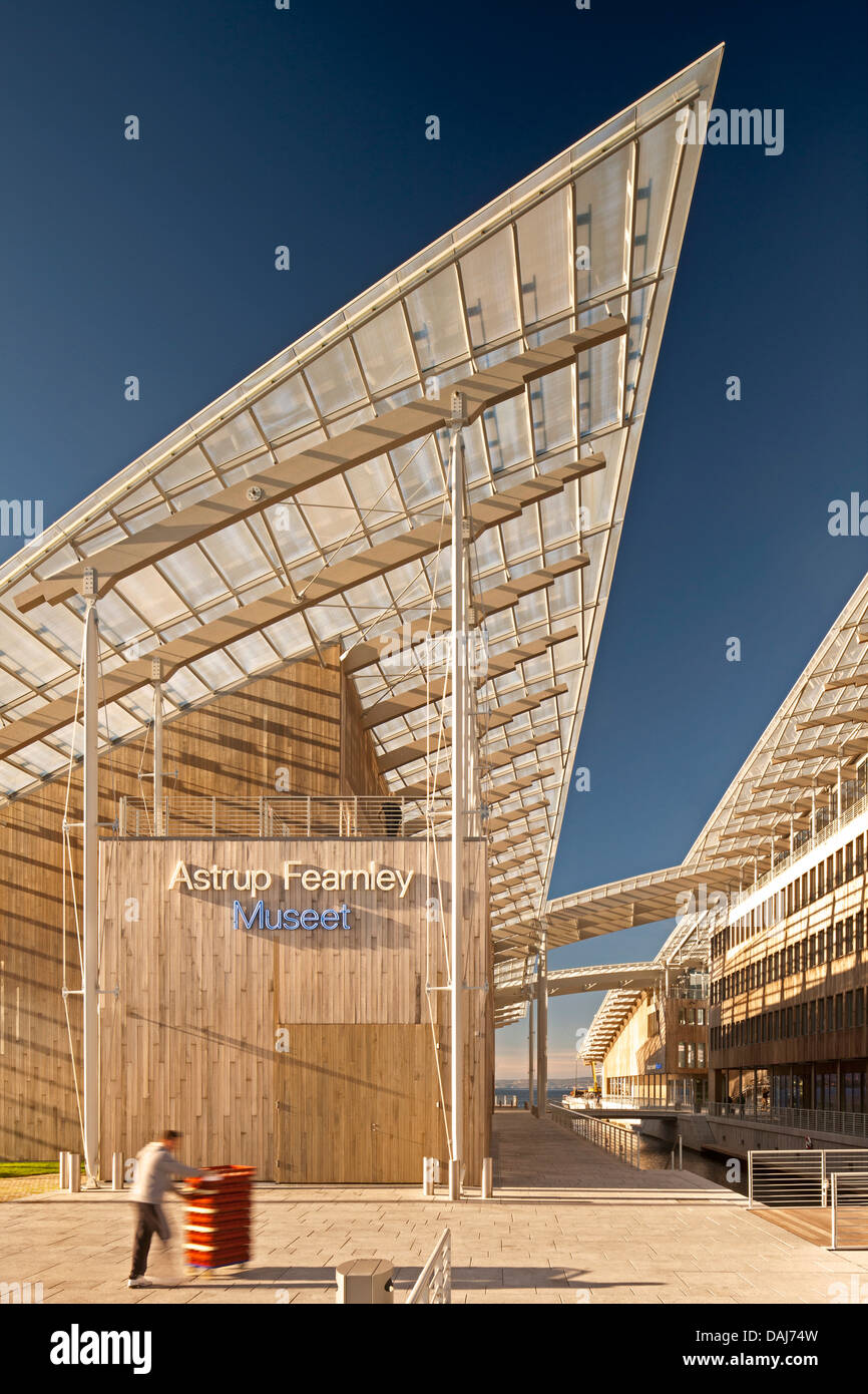 Tjuvholmen Icon Complex, Oslo, Norway. Architect: Renzo Piano Building Workshop, 2012. Entrance to complex. - Stock Image