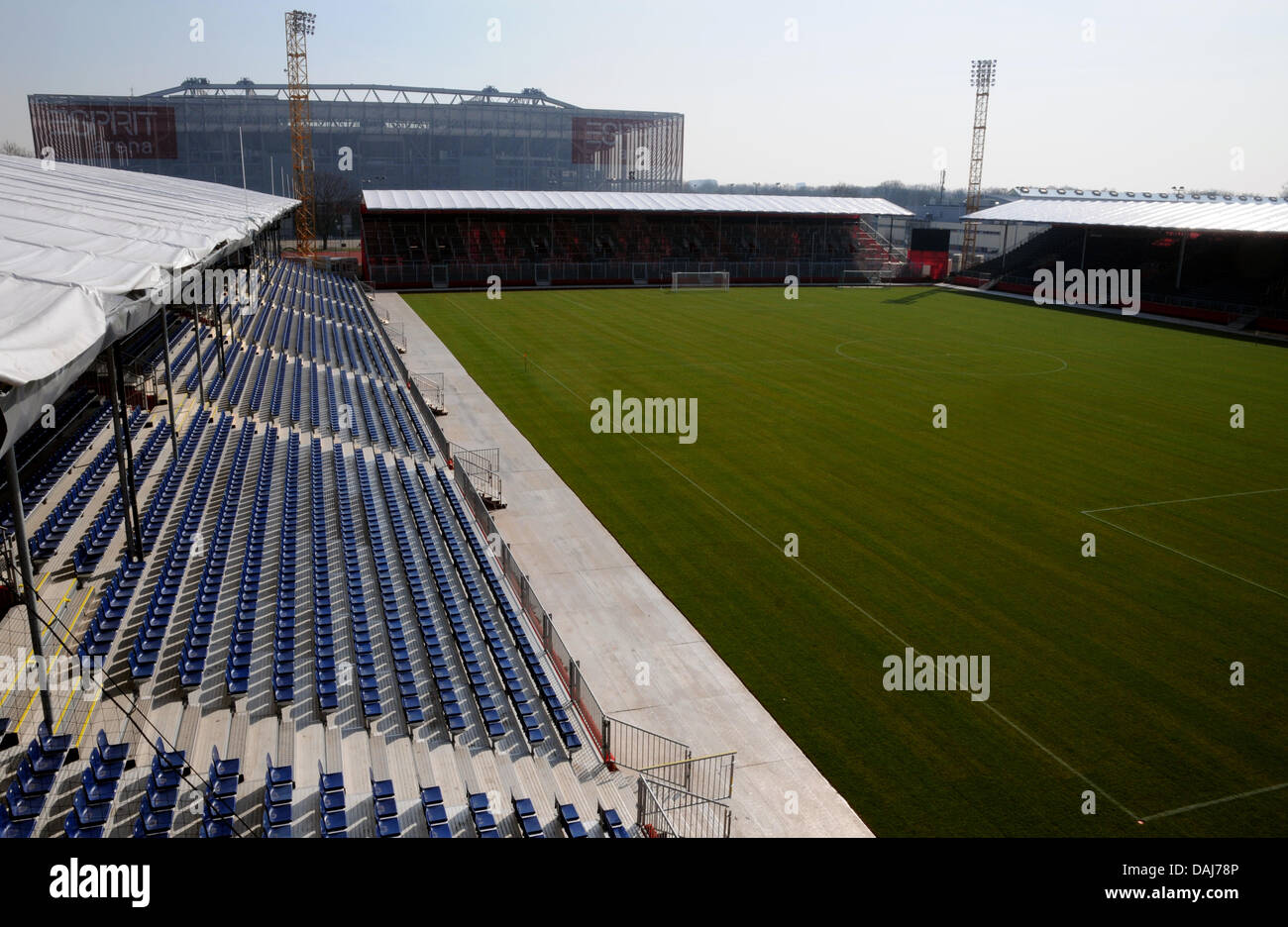 Interior view over mobile soccer stadium 'airberlin world'in Duesseldorf, Germany, 22 March 2011. - Stock Image