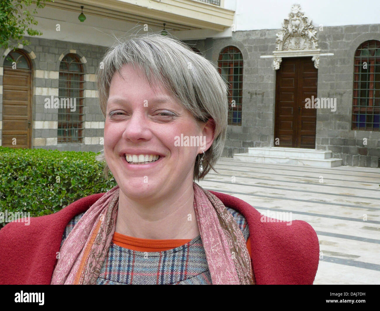 German conservator Anke Scharrahs is pictured in an inner court yard of a residence in Damascus, Syria, 16 March Stock Photo