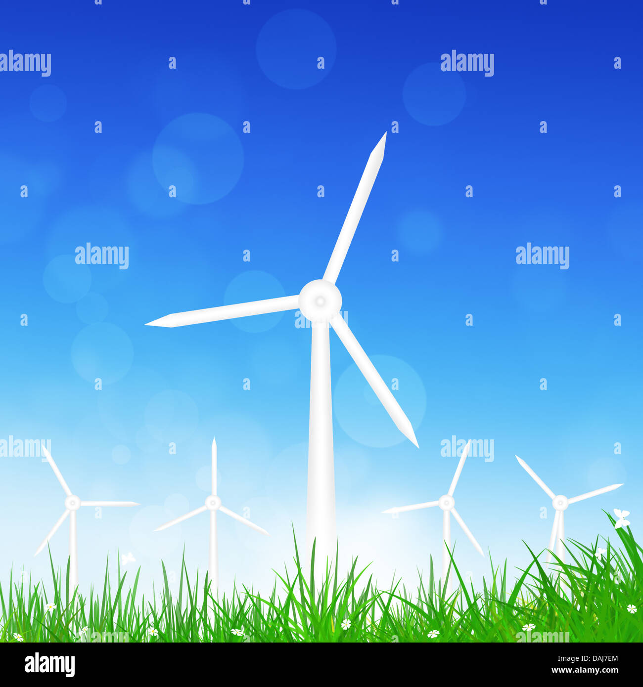 concept illustration of alternative energy taken by wind turbines - Stock Image