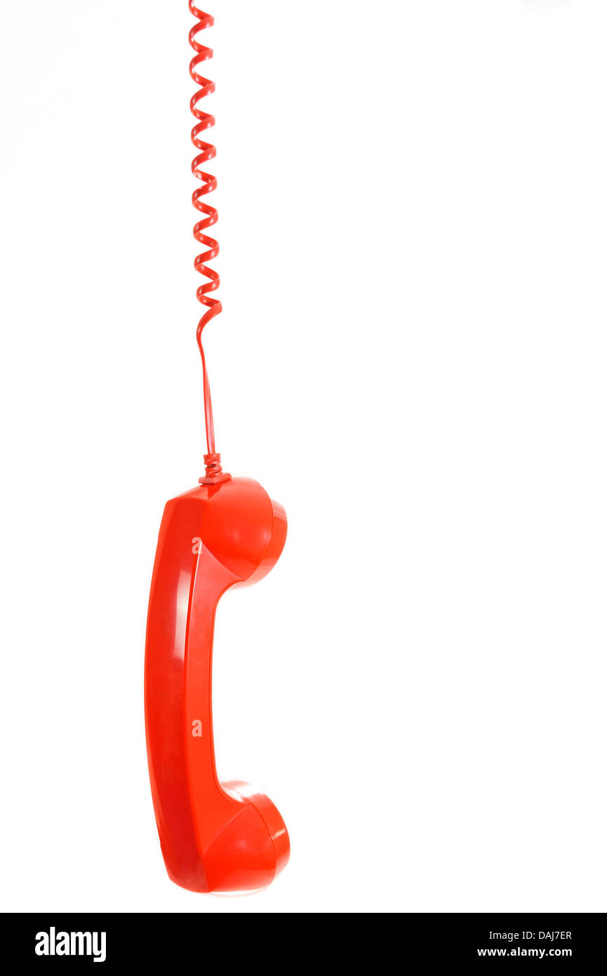 telephone receiver hang down Isolated on white background - Stock Image