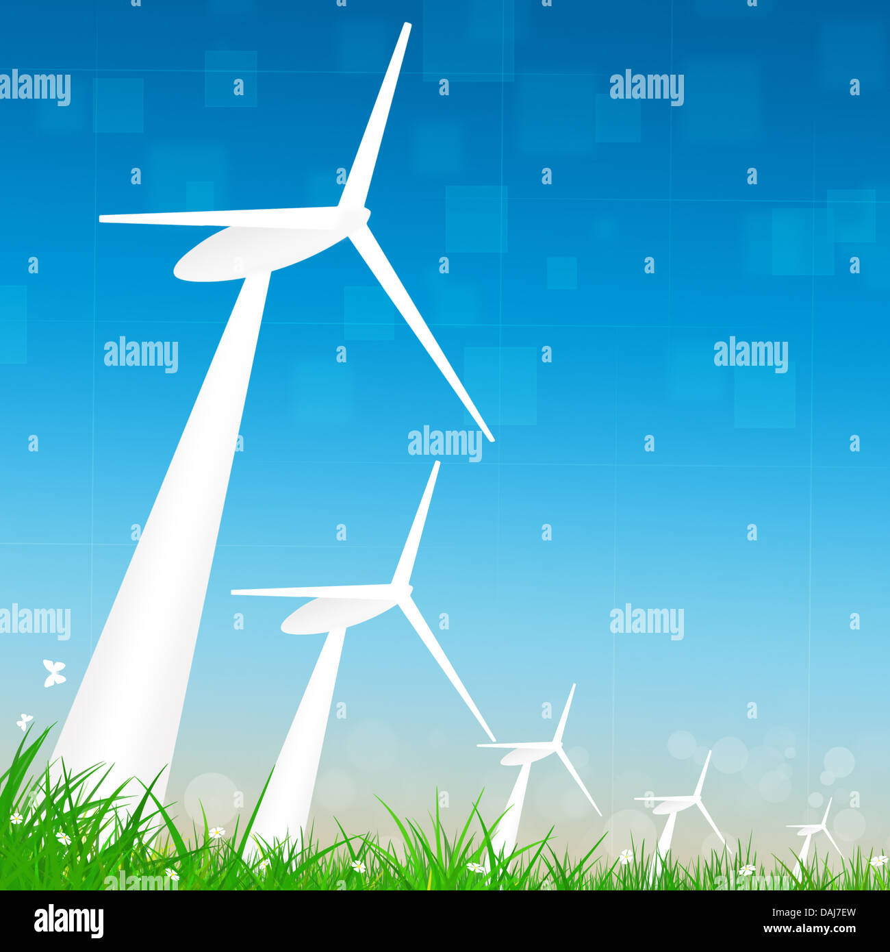 concept business illustration of alternative wind turbines energy - Stock Image