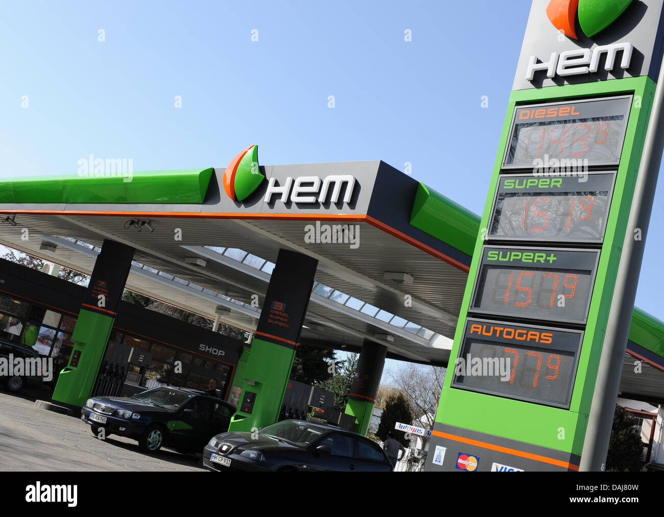 The picture shows a HEM petrol station in Hamburg, Germany on 24