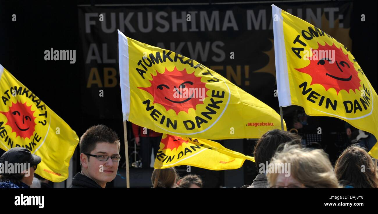 Anti-nuclear protesters participate in a rally in Munich, Germany, 26 March 2011. Germany-wide protests against - Stock Image