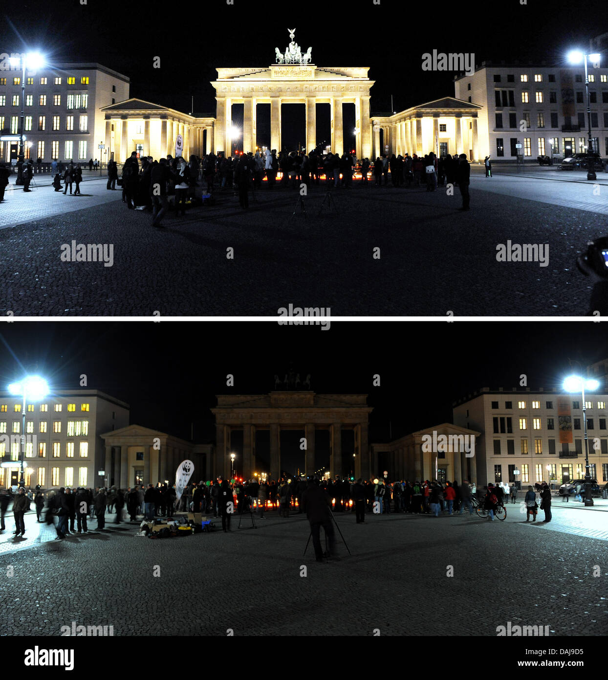 The picture collage shows the lit and unlit Brandenburg Gate during the so-called 'Earth Hour' at night - Stock Image