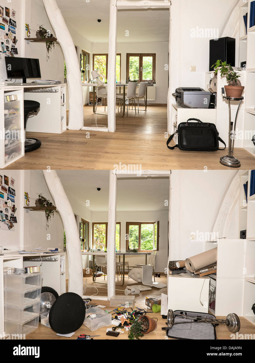 Germany North Rhine Westphalia Interior Of House Before And After Burglary