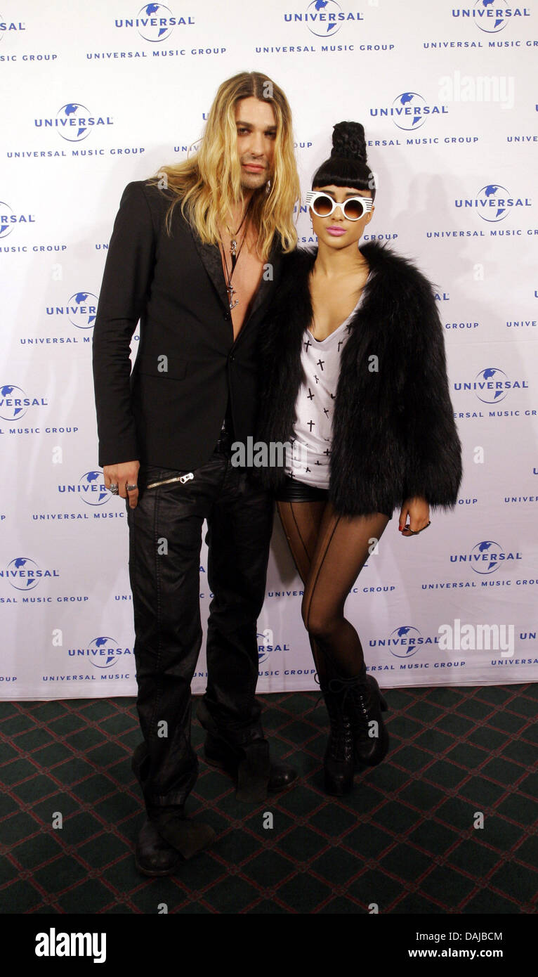 Violinist David Garrett and singer Natalia Kills before the Echo Awards from Universal Music in Berlin, Germany, Stock Photo