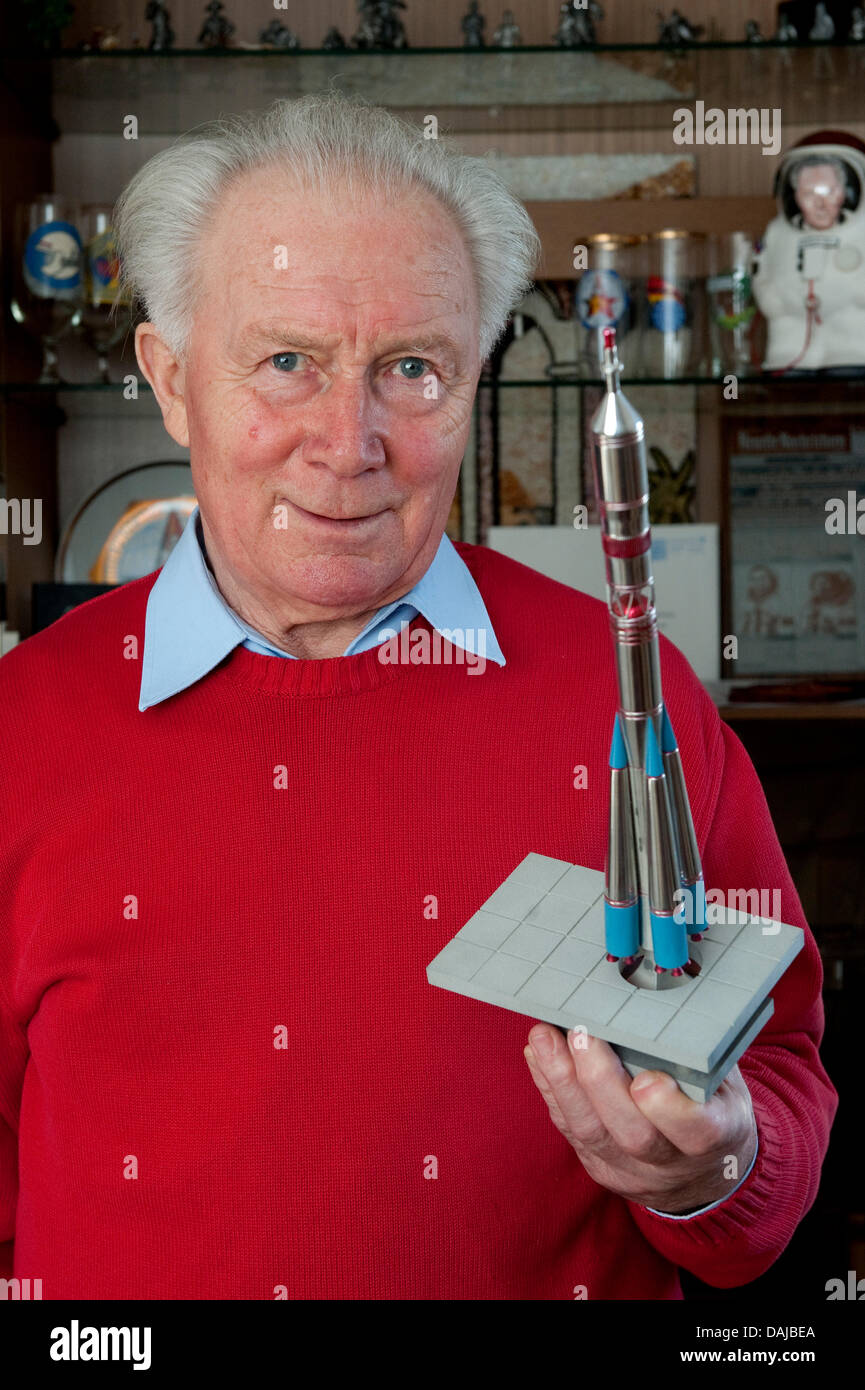 Cosmonaut Sigmund Jaehn is pictured with a model of the Soyuz rocket in Strausberg, Germany, 08 March 2011. Jaehn - Stock Image