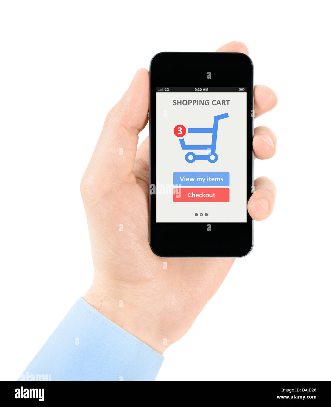 Men hand holding modern mobile phone with on-line shopping Stock