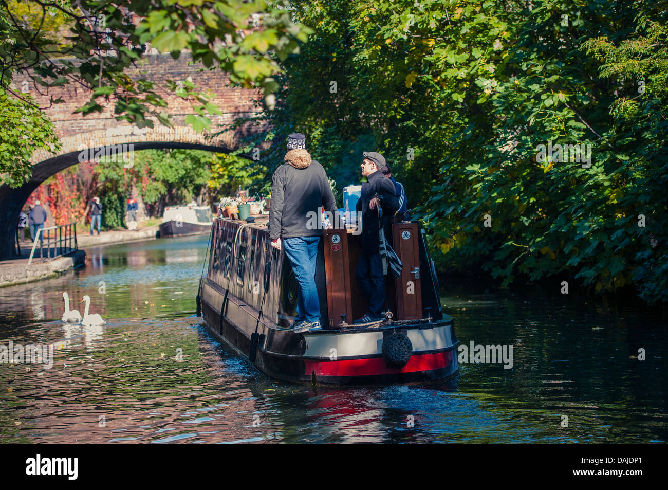 Longboat on Regent's canal, London - Stock Image