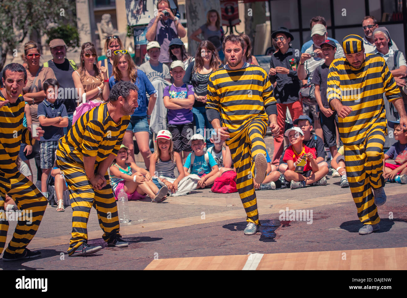 Mime actors performing at the Arts festival in Avignon, Provence, France - Stock Image