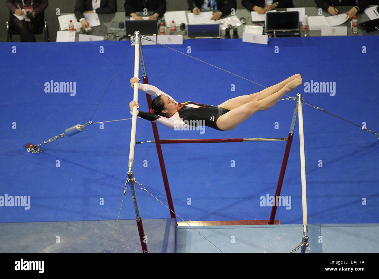 9fb94e5b78e1 The German Kim Bui performs on the uneven bars at the women's apparatus uneven  bars finals of the Gymnastics European Championships in Max-Schmeling-Hall  in ...