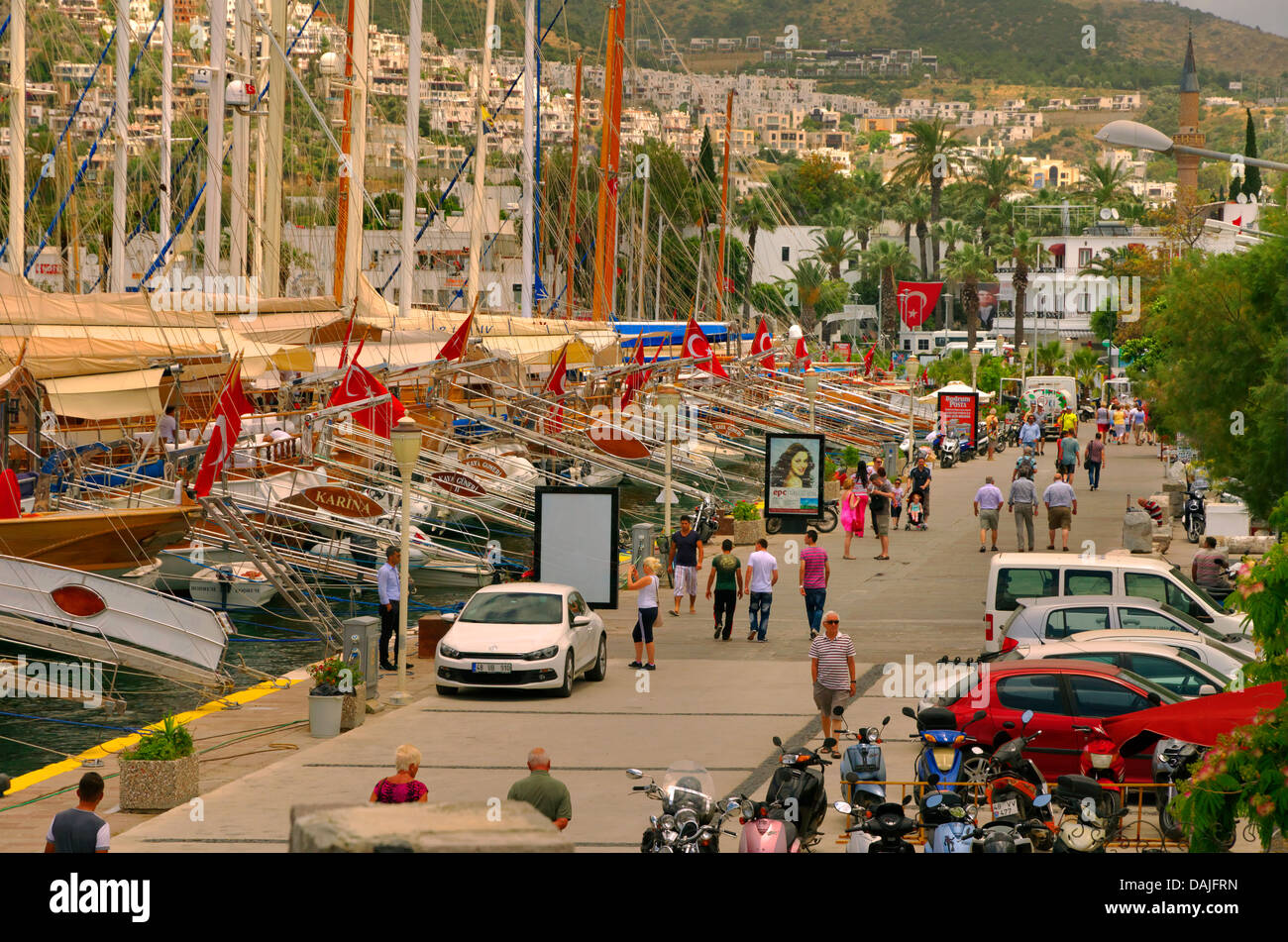 Quayside of the main harbour at Bodrum, Mugla Province, Turkey. - Stock Image
