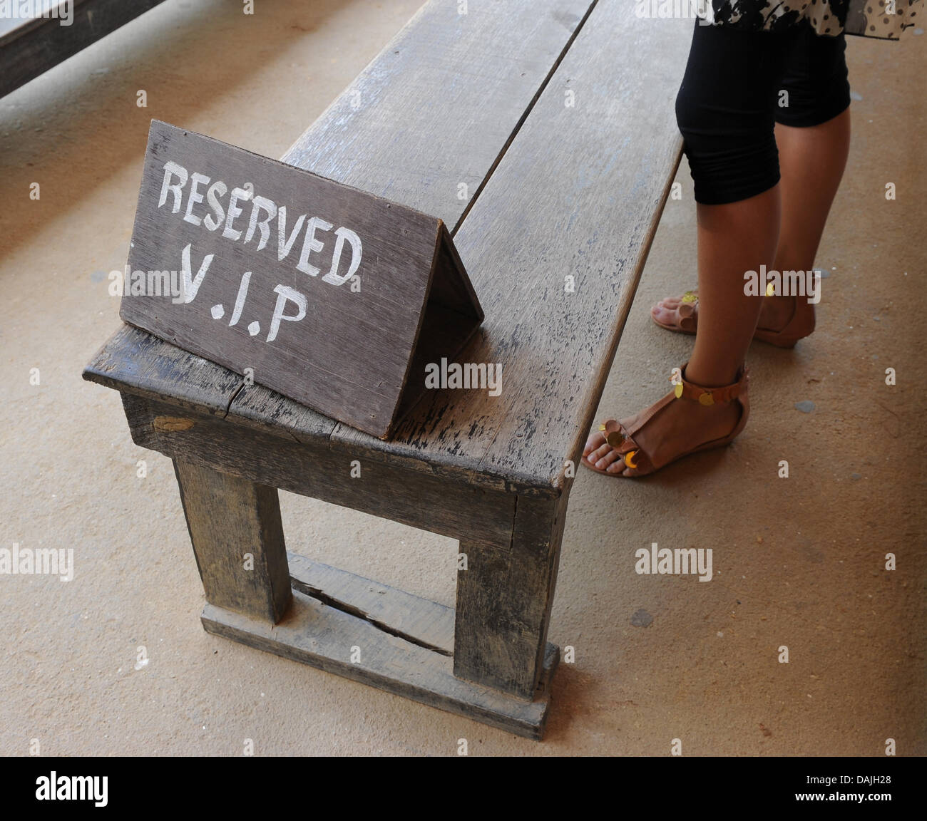 A Wooden Bench Is Reserved For Vip Visitors At The Maesa Elephant