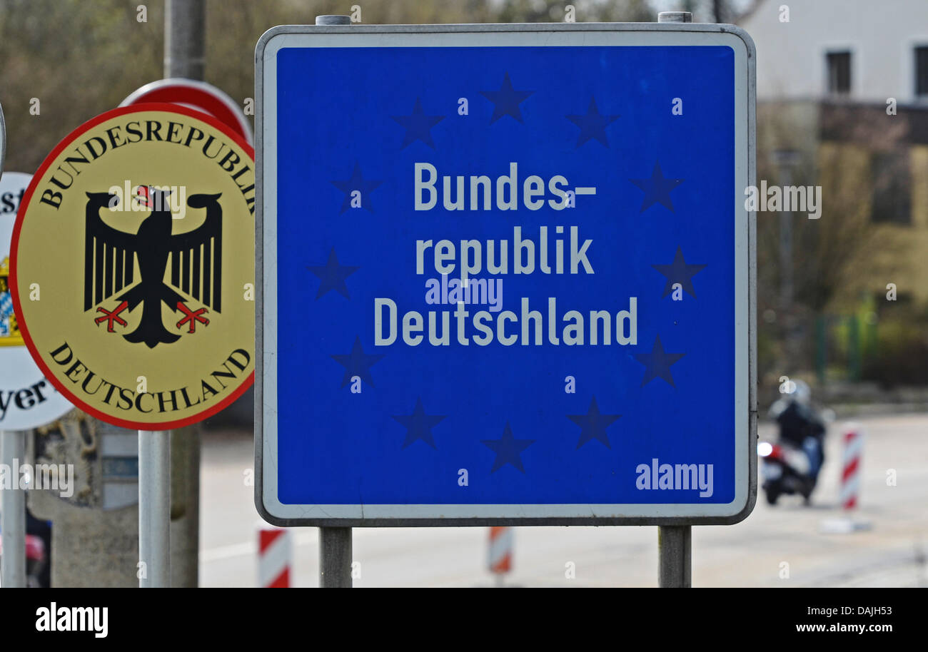Border signs of the Federal Republic of Germany stand at the border with the Czech Republic in Waidhaus,Germany, - Stock Image