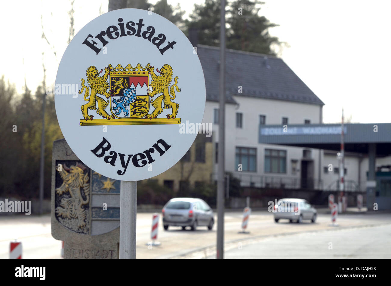 A sign with the coat of arms for the German state of Bavaria stands at the border with the Czech Republic in Waidhaus,Germany, - Stock Image