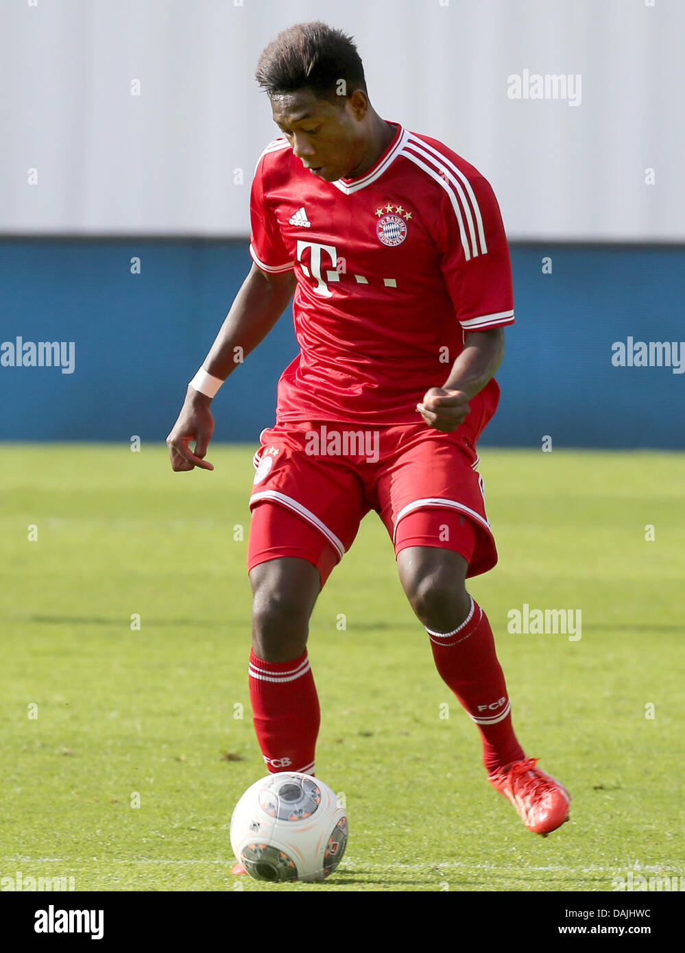 Bayern Munich's David Alaba in action during the charity soccer match  between FC Hansa Rostock and FC Bayern Munich at the DKB-Arena soccer  stadium in ...