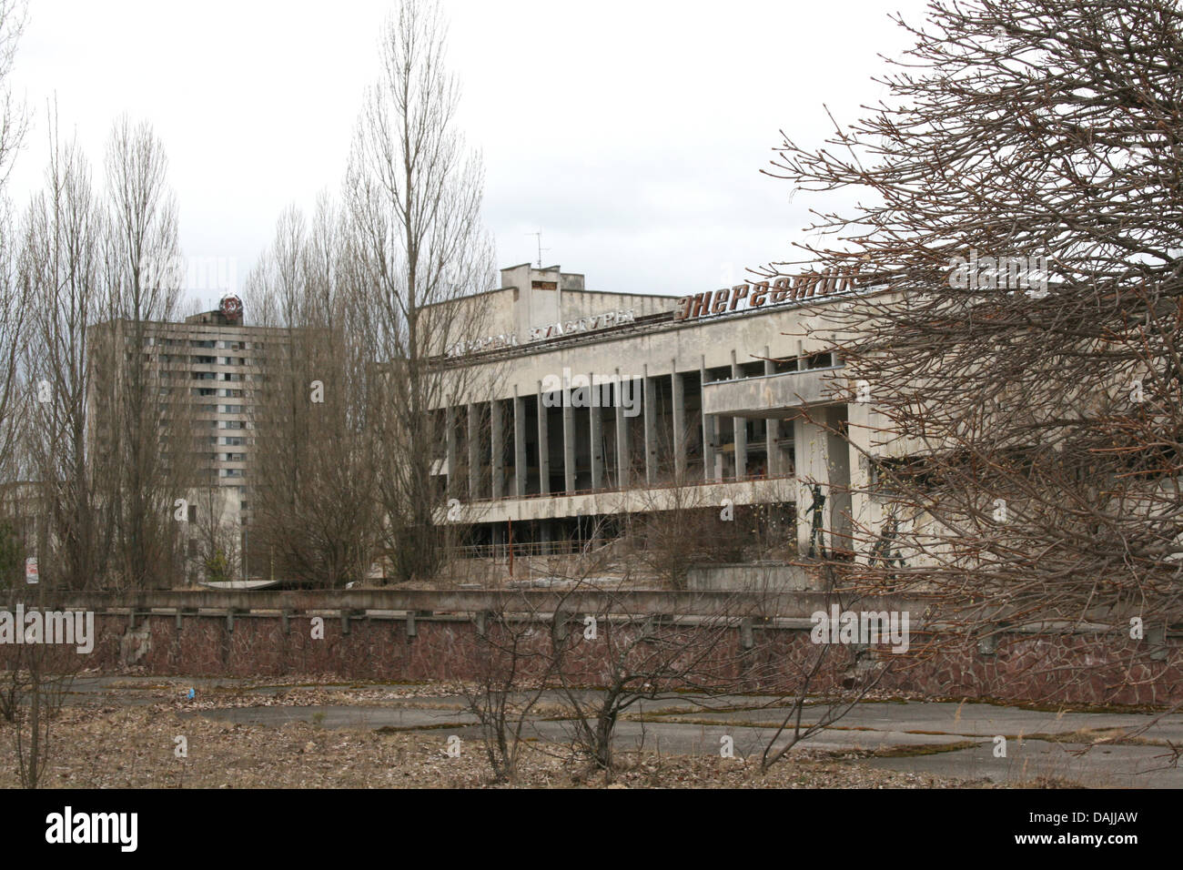 The culture palace in the ghost town of Pripyat, Ukraine, 7 April 2011. On 26 April 1986 the nuclear power plant - Stock Image