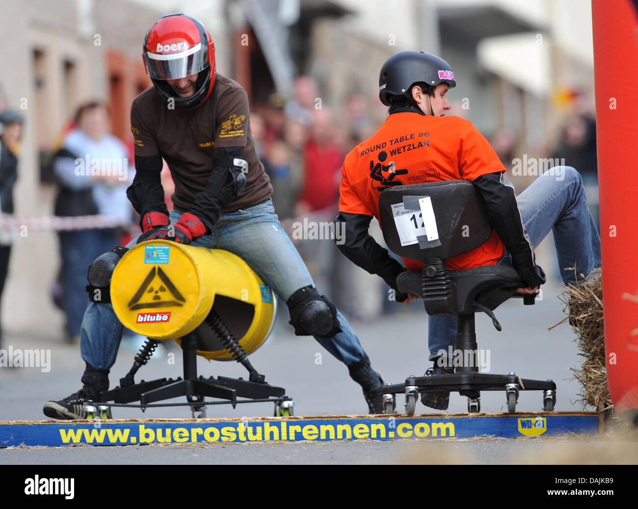 german office chairs. Two Participants Race Their Chairs At The 3rd German Championships In Office Chair Racing Bad Koenig-Zell, Germany, 16 April 2011.