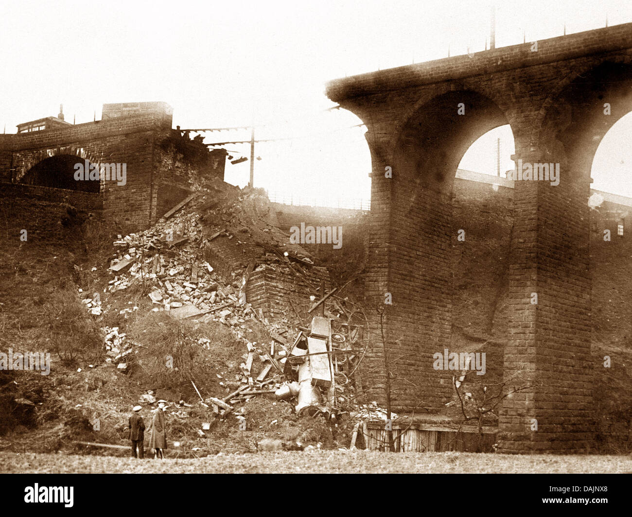 Penistone Railway Viaduct Collapse 2nd February 1916 - Stock Image