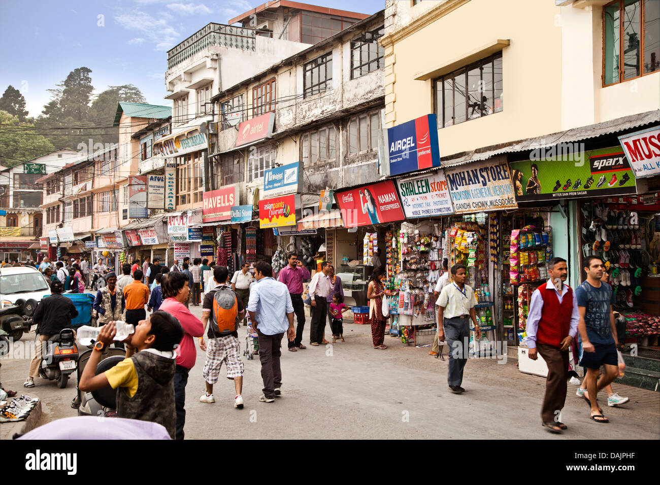 People moving on the road, Mall Road, Mussoorie, Uttarakhand, India - Stock Image