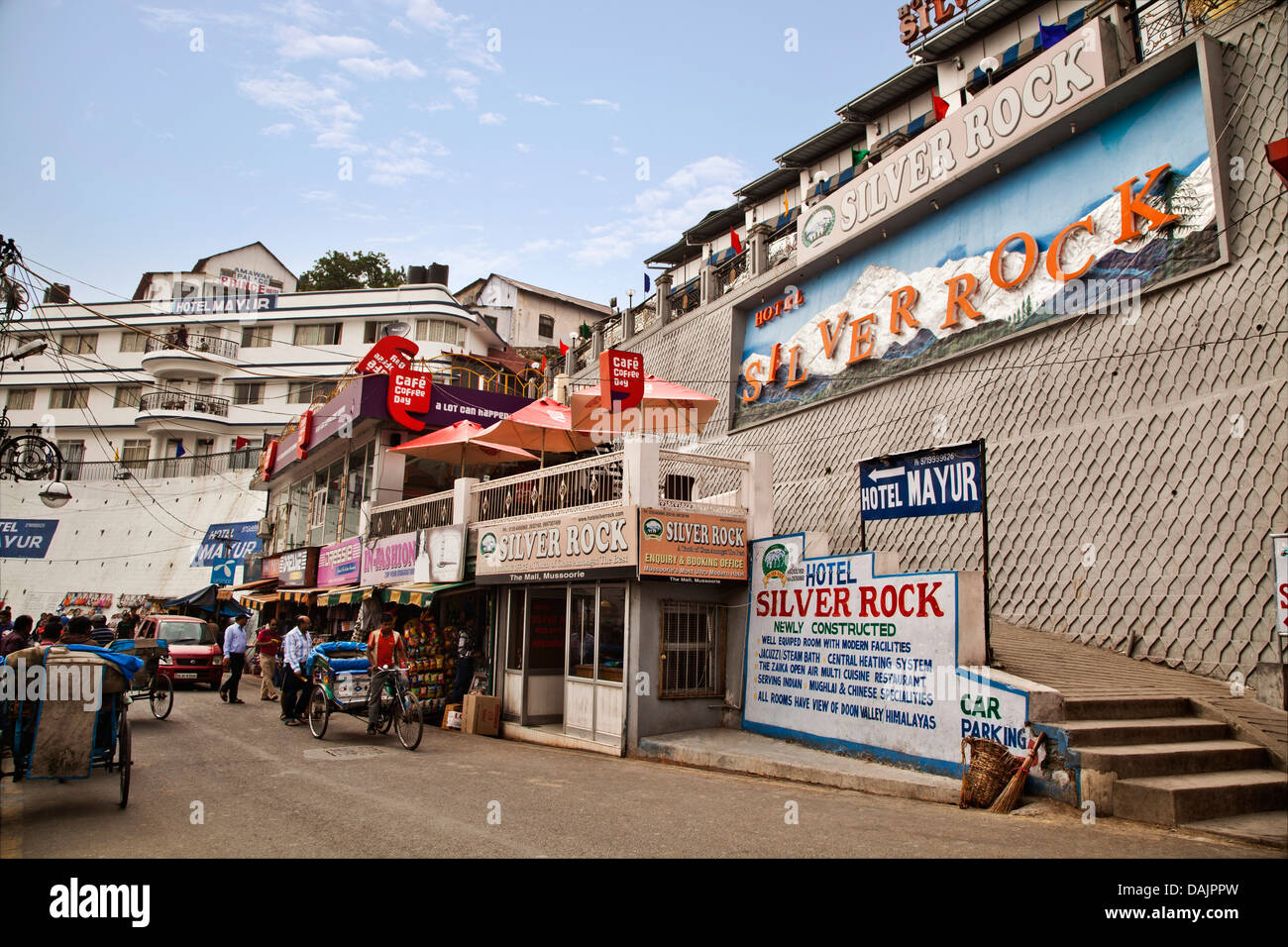 Buildings at the roadside, Mall Road, Mussoorie, Uttarakhand, India - Stock Image