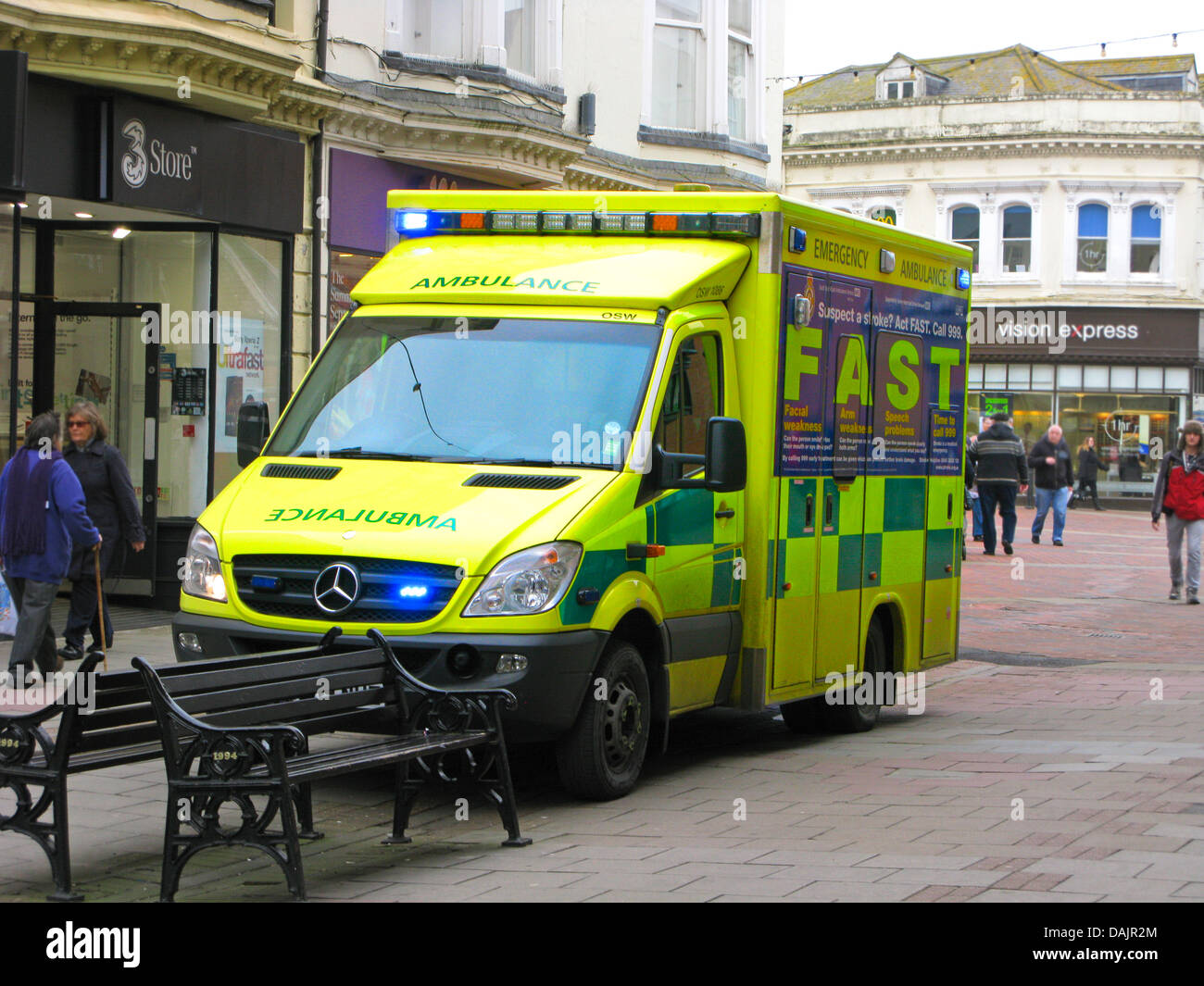 Sussex Ambulance Service Paramedic Unit attending an emergency in Worthing town centre shopping area West Sussex - Stock Image